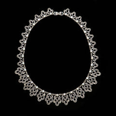 Luke Stockley Sterling Silver & Marcasite Pearl Lace Necklace (N191PL)