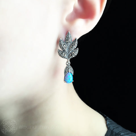 Luke Stockley Marcasite & Blue Opal Leaf Drop Stud Earrings (HE301-BOP) Model