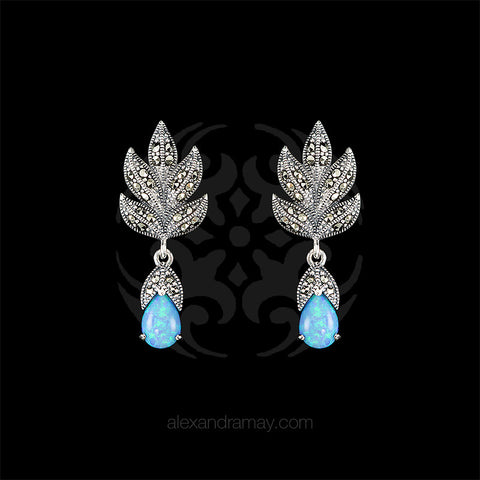 Luke Stockley Marcasite & Blue Opal Leaf Drop Stud Earrings (HE301-BOP) front