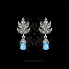 Luke Stockley Marcasite & Blue Opal Leaf Drop Stud Earrings (HE301-BOP)