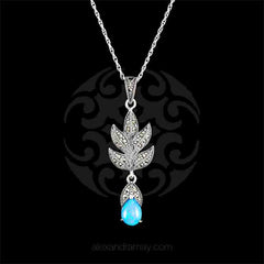 Luke Stockley Marcasite & Blue Opal Leaf Pendant Necklace (HP301) front