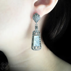 Luke Stockley Marcasite & Mother of Pearl Deco Earrings (HE141MOP) model