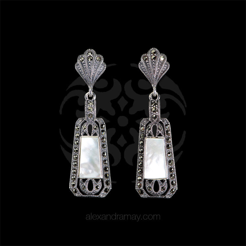 Luke Stockley Marcasite & Mother of Pearl Deco Earrings (HE141MOP) front