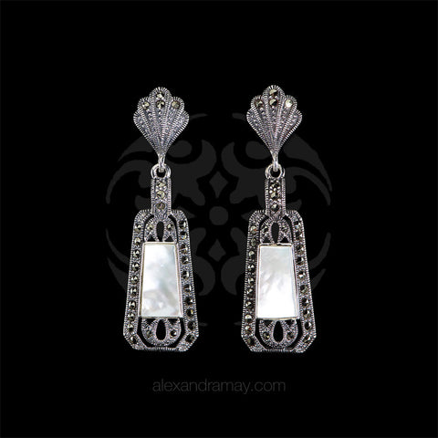 Luke Stockley Marcasite & Mother of Pearl Deco Earrings (HE141MOP)