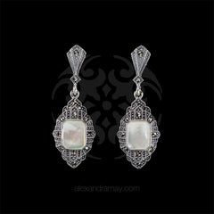 Luke Stockley Marcasite & Mother of Pearl Rectangular Earrings (HE842MOP) front