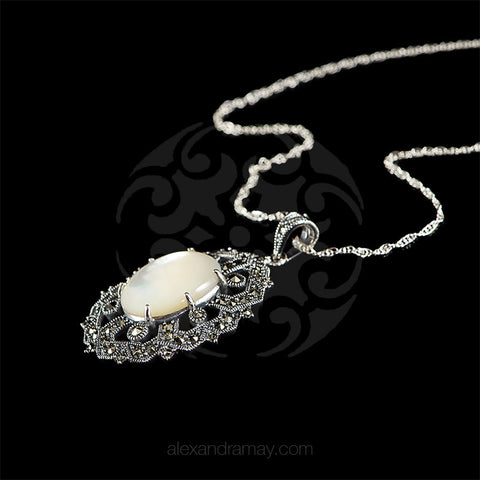 Luke Stockley Marcasite & Mother of Pearl Oval Pendant (HP697MOP) side