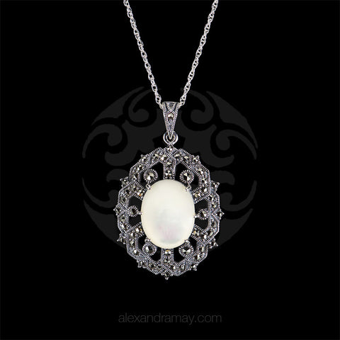 Luke Stockley Marcasite & Mother of Pearl Oval Pendant (HP697MOP)