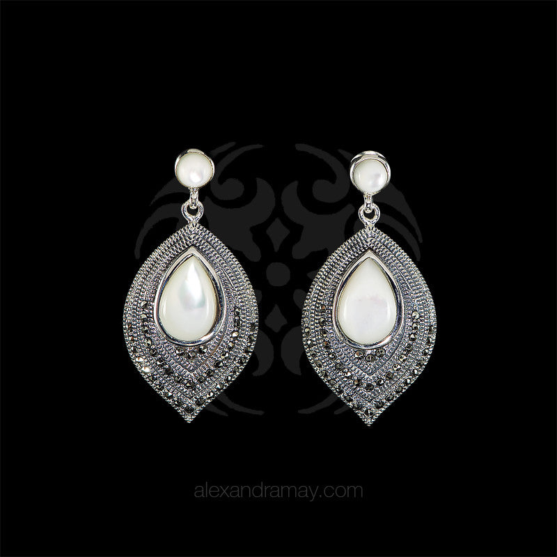 Luke Stockley Marcasite & Mother of Pearl Leaf Earrings (SME1257)