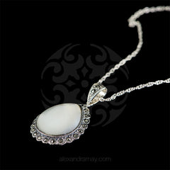 Luke Stockley Marcasite & Mother of Pearl Teardrop Pendant (SMN1398)