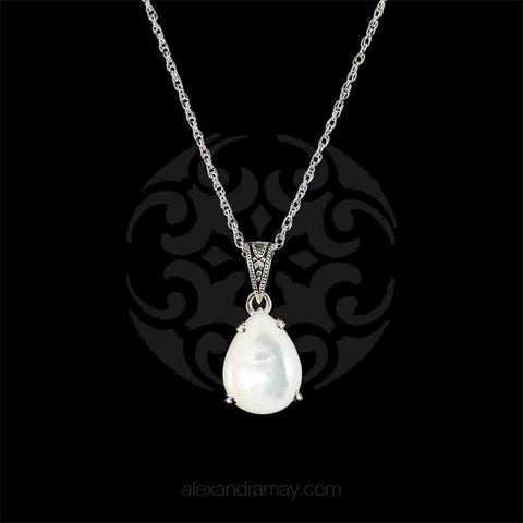 Luke Stockley Marcasite & Mother of Pearl Classic Teardrop Pendant Necklace (HP233-MOP) front