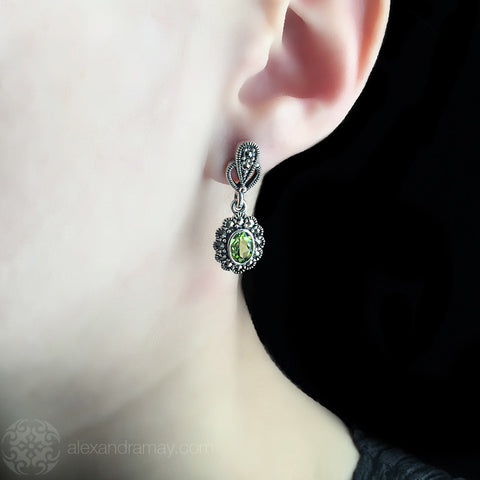 Luke Stockley Marcasite & Peridot Drop Stud Earrings (HE343-PD) Model