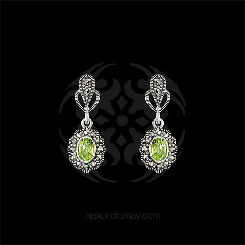 Luke Stockley Marcasite & Peridot Drop Stud Earrings (HE343-PD) front