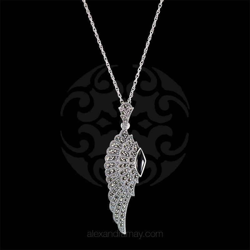 Luke Stockley Marcasite Wing Pendant (HP645O) front