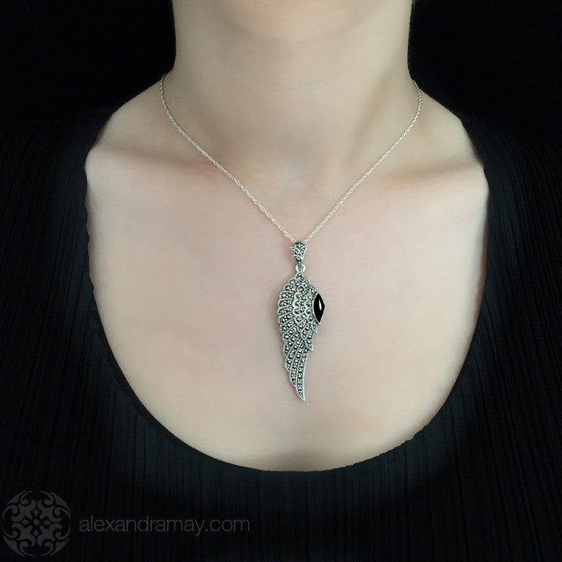 Luke Stockley Marcasite & Black Onyx Wing Pendant (HP645O) model