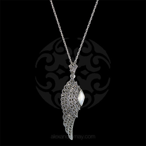 Copy of Luke Stockley Marcasite & Mother of Pearl Wing Pendant (HP645) front