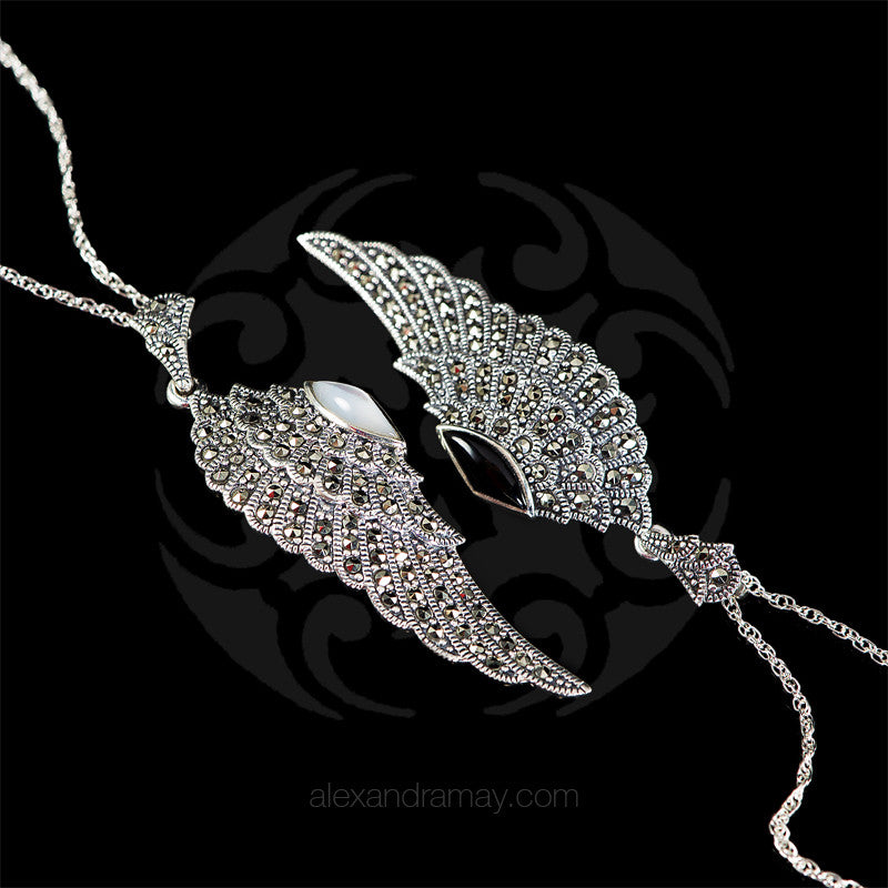 Luke Stockley Marcasite Wing Pendant (HP645O) double