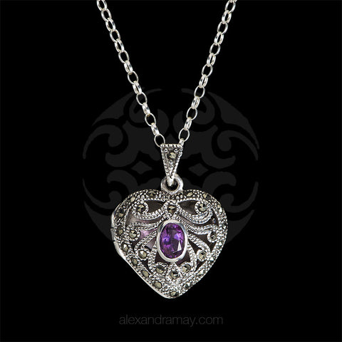 Luke Stockley Marcasite & Amethyst Heart Locket (PM223AM) front