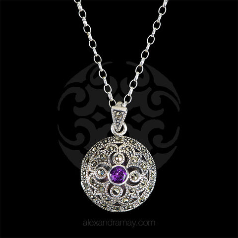 Luke Stockley Marcasite & Amethyst Round Pendant front