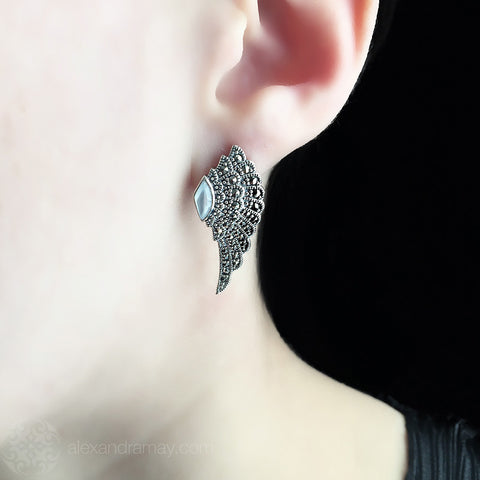 Luke Stockley Marcasite & Mother of Pearl Wing Stud Earrings (HE707-MOP)