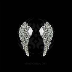 Luke Stockley Marcasite & Mother of Pearl Wing Stud Earrings (HE707-MOP) front