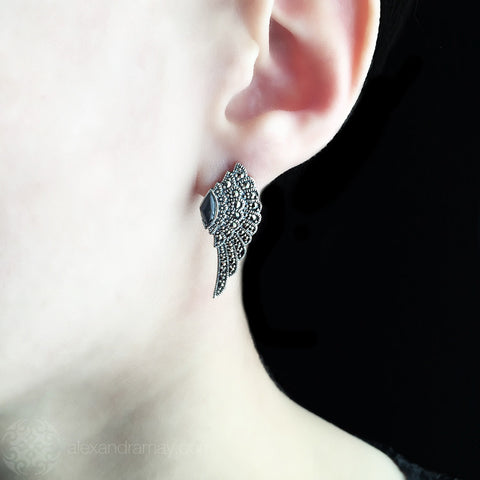 Luke Stockley Marcasite & Black Onyx Wing Stud Earrings (HE707-O) model