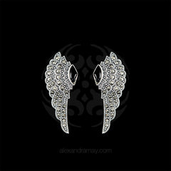 Luke Stockley Marcasite & Black Onyx Wing Stud Earrings (HE707-O) front