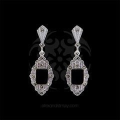 Luke Stockley Marcasite & Black Onyx Rectangular Earrings (HE824O) front