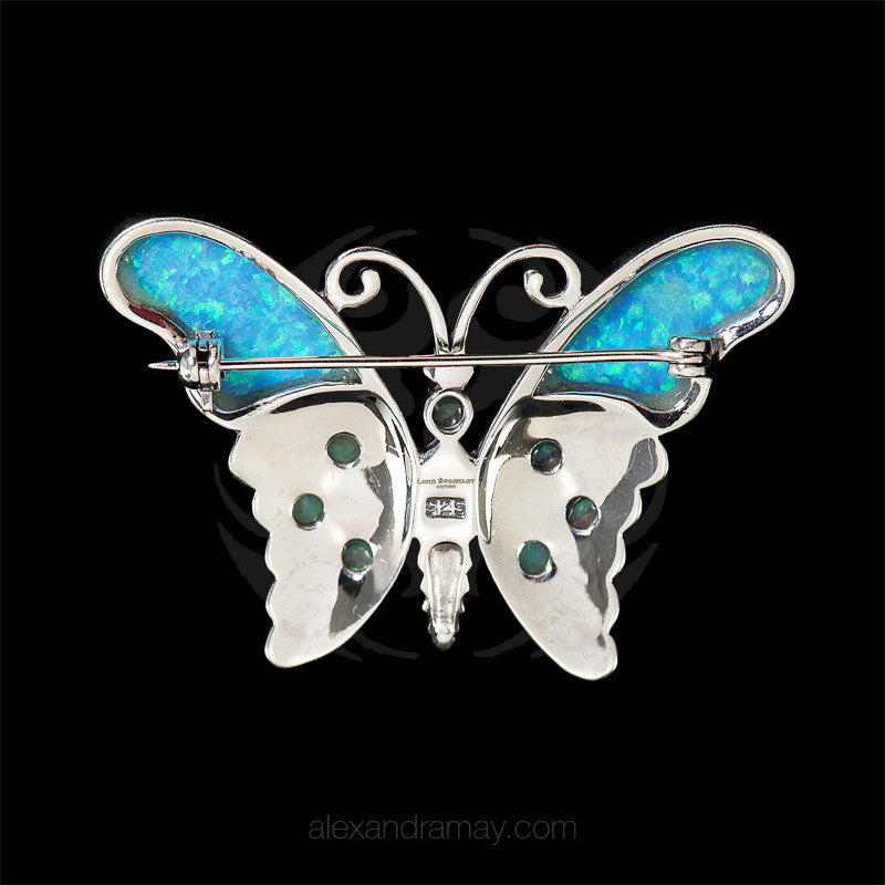 Luke Stockley Marcasite & Blue Opal Butterfly Brooch (HB174) back