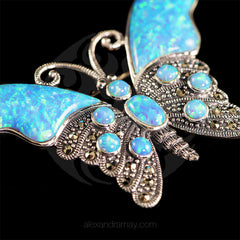 Luke Stockley Marcasite & Blue Opal Butterfly Brooch (HB174) detail