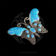 Luke Stockley Marcasite & Blue Opal Butterfly Brooch (HB174) side