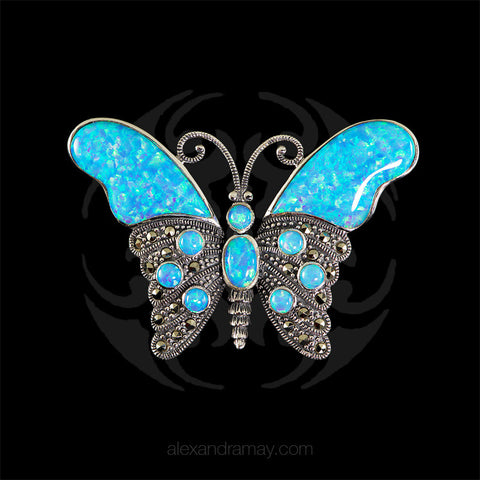 Luke Stockley Marcasite & Blue Opal Butterfly Brooch (HB174) front