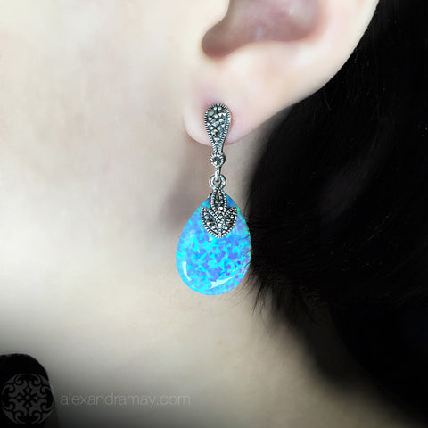 Luke Stockley Marcasite & Blue Opal Teardrop Earrings (HE717BOP) model