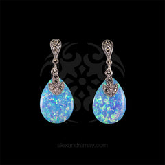 Luke Stockley Marcasite & White Opal Drop Earrings (HE717B/OP) front