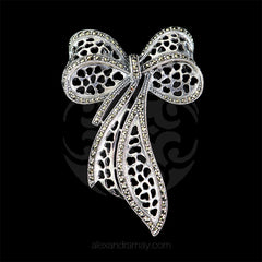 Luke Stockley Silver Marcasite Ribbon Bow Brooch (HB515) front