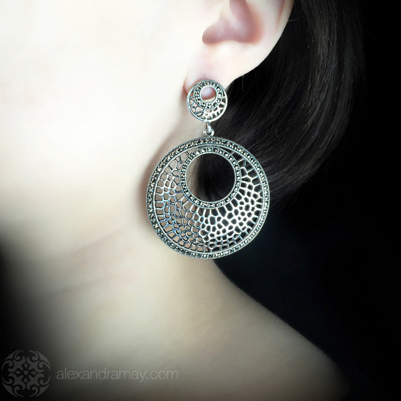 Luke Stockley Marcasite Graduated Circles Earrings (HE745) model