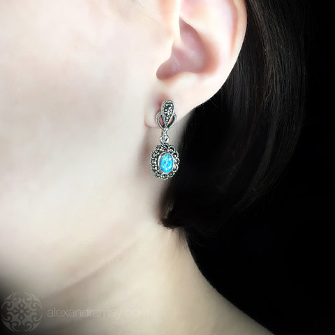 Luke Stockley Marcasite & Blue Opal Small Drop Earrings (HE343BOP) model