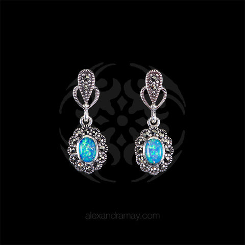 Luke Stockley Marcasite & Opal Small Drop Earrings (HE343BOP) front