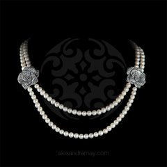 Luke Stockley Marcasite & Pearl Double Rose Necklace (NE8PL) front
