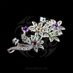 Luke Stockley Marcasite Flower Bouquet Brooch (HB475-MIX)
