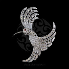Luke Stockley Sterling Silver & Marcasite Hummingbird Brooch (HB53) front