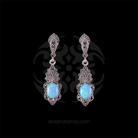 Luke Stockley Marcasite & Blue Opal Seashell Earrings (HE41BOP)