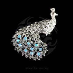 Luke Stockley Marcasite & Blue Opal Peacock Pendant Brooch (HB23BOP)