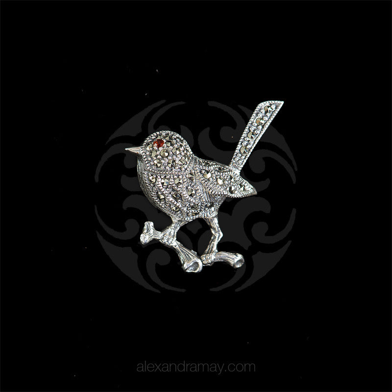 Luke Stockley Marcasite Small Robin Brooch (M3163)