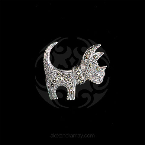 Luke Stockley Marcasite Tiny Scottie Dog Brooch (HB29)
