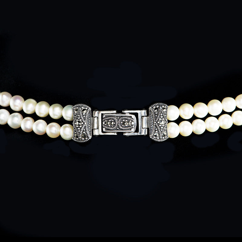 Luke Stockley Marcasite Pearl & Mother of Pearl Bow Necklace (FBN012MOP) front clasp detail