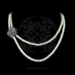 Luke Stockley Marcasite & Pearl Double Strand Rose Necklace (NE10PL) front