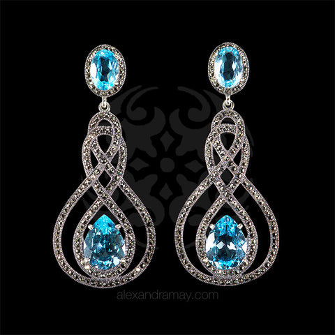 Luke Stockley Marcasite & Topaz Swirl Drop Earrings (HE757BT)
