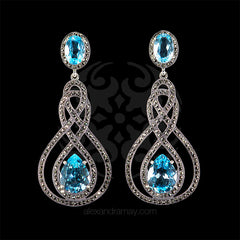 Luke Stockley Marcasite & Topaz Drop Earrings (HE757BT) front