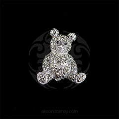 Luke Stockley Sterling Silver & Marcasite Teddy Bear Pendant Brooch (M3578) front