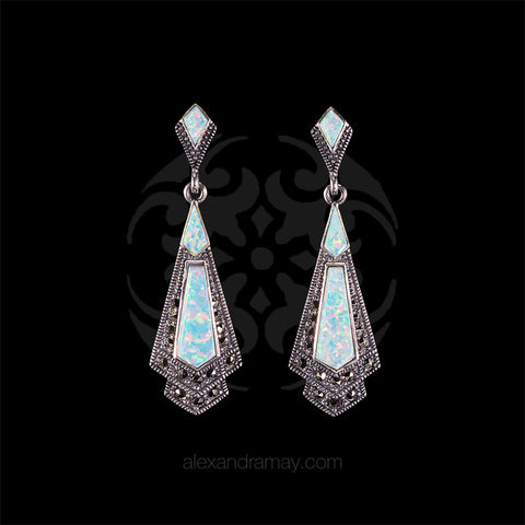 Luke Stockley Marcasite & White Opal Earrings (HE106-OPAL)